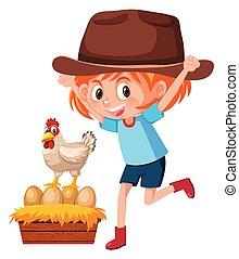 tanya, leány, fiatal, csirke