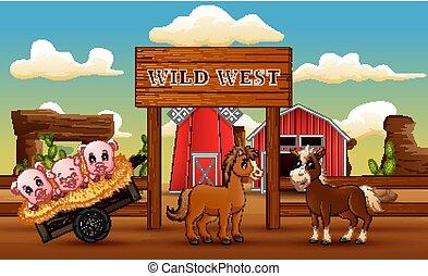 tanya, nyugat, táj, vad állat