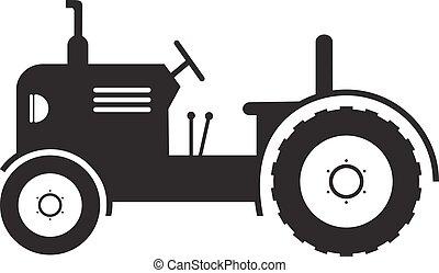 tanya, vektor, háttér, jármű, fehér, traktor, ikon