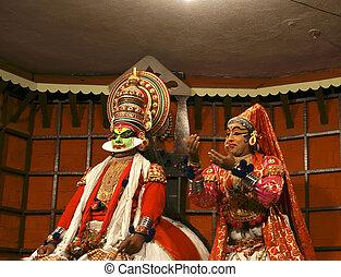 tanz, actor., indien, (cochin), kochi, kathakali, tradional