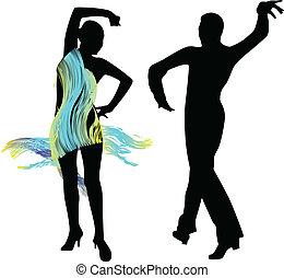 tanz, leute, silhouette, vektor
