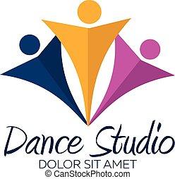 tanz, logotype., minimalistic., vektor, studio, logo., tänzer