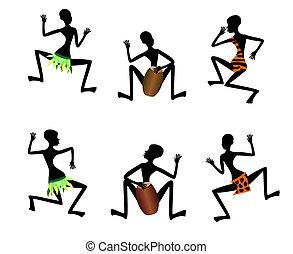 tanz, lustiges, vektor, schwarz, leute