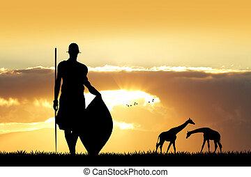 tanz, masai, sonnenuntergang