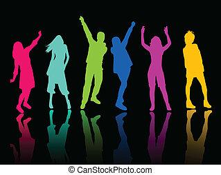 tanz, party, silhouette, leute