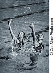 tanz, schwimmer, synchronisiert