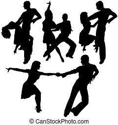 tanz, silhouetten, latino