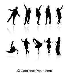 tanz, springende , silhouette, leute