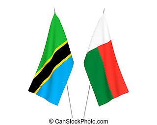 Tanzania and Madagascar flags - National fabric flags of ...