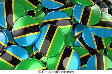 Tanzania Badges Background - Pile of Tanzania Flag Buttons.