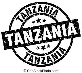 Tanzania black round grunge stamp