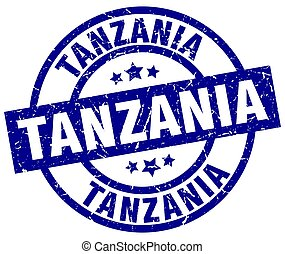 Tanzania blue round grunge stamp