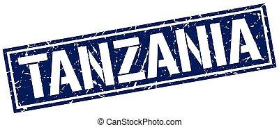 Tanzania blue square stamp