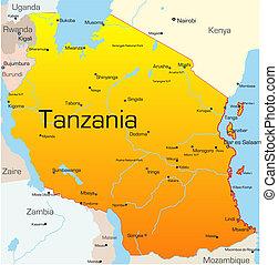 Tanzania  - Abstract vector color map of Tanzania country