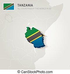 Tanzania drawn on gray map
