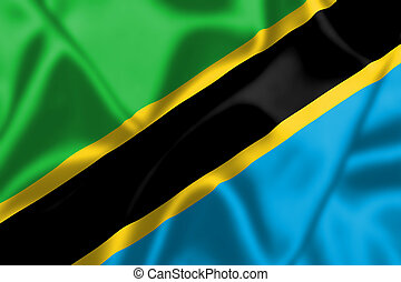 Tanzania flag blowing in the wind
