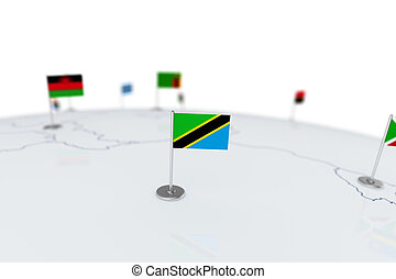 Tanzania flag. Country flag with chrome flagpole on the world map with neighbors countries borders. 3d illustration rendering flag