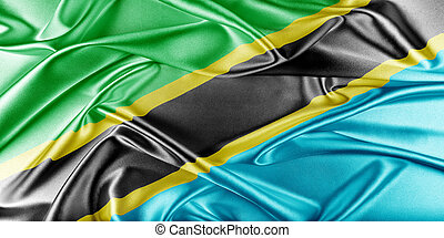 Tanzania Flag. Flag with a beautiful glossy silk texture.