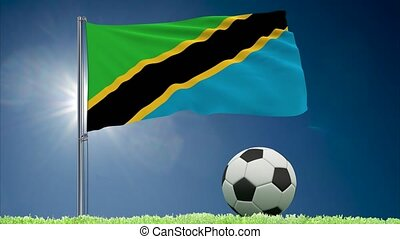 Tanzania flag fluttering and football rolls - Flag of...