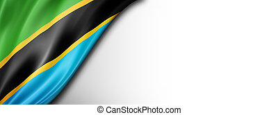 Tanzania flag isolated on white banner
