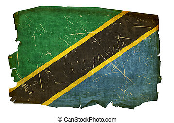 Tanzania flag old, isolated on white background