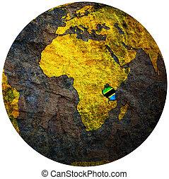 tanzania flag on globe map