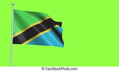Tanzania Flag in 3D render with green screen background in Slow Motion