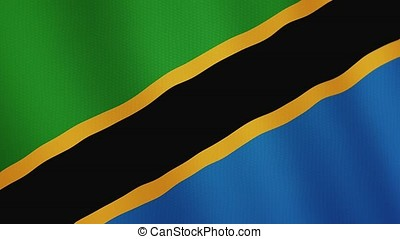 Tanzania flag waving animation. Full Screen. Symbol of the...