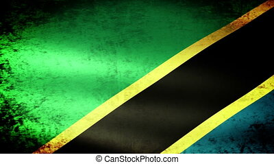 Tanzania Flag Waving, grunge look