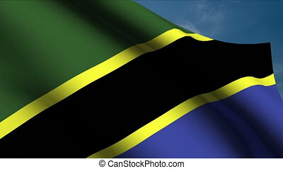 Tanzania Flag waving in wind with clouds in background