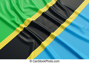 Tanzania flag. Wavy fabric high detailed texture. 3d illustration rendering