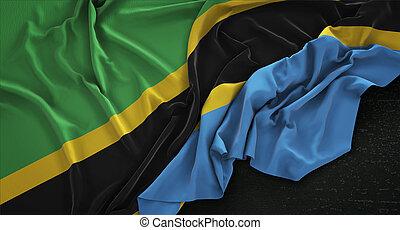 Tanzania Flag Wrinkled On Dark Background 3D Render