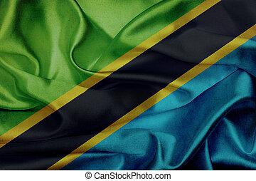 Tanzania grunge waving flag