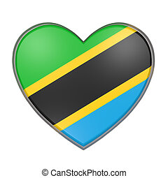 3d rendering of a Tanzania flag on a heart. White background