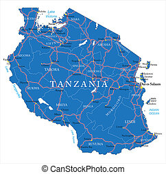 Detailed vector map of Tanzania with country borders, county names, main roads and a highly detailed state silhouette.