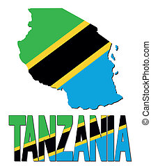 Tanzania map flag and text