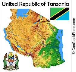 Tanzania map flag coat