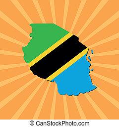 Tanzania map flag on sunburst