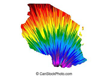 Tanzania - map is designed rainbow abstract colorful pattern, United Republic of Tanzania map made of color explosion,