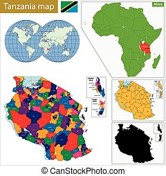 Tanzania map - Administrative division of the United...