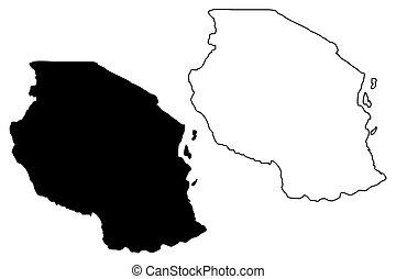 Tanzania map vector illustration, scribble sketch United...