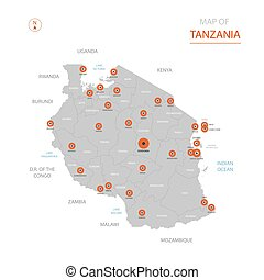 Tanzania map with administrative divisions.
