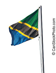 Tanzania national flag, isolated