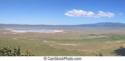 tanzania, ngorongoro, panorama, cráter, parque, serengeti