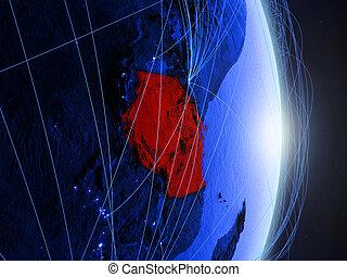 Tanzania on blue blue digital Earth
