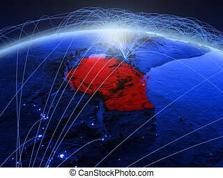Tanzania on blue blue digital globe