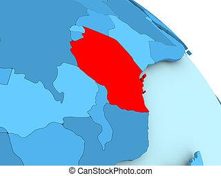 Tanzania on blue globe