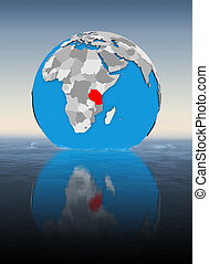 Tanzania on globe in water