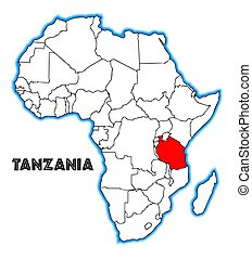 Tanzania outline inset into a map of Africa over a white background