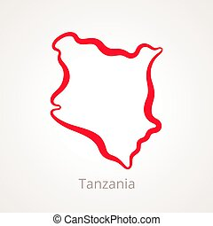 Tanzania - Outline Map - Outline map of Tanzania marked with...